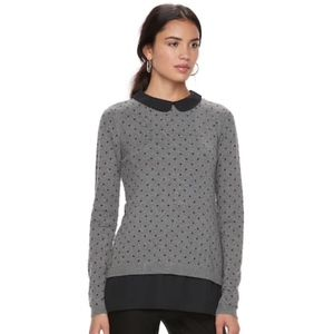 ELLE Polka Dot Mock-Layer Gray & Black Sweater